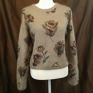 vtg 90s THE LIMITED wool+angora floral sweater S